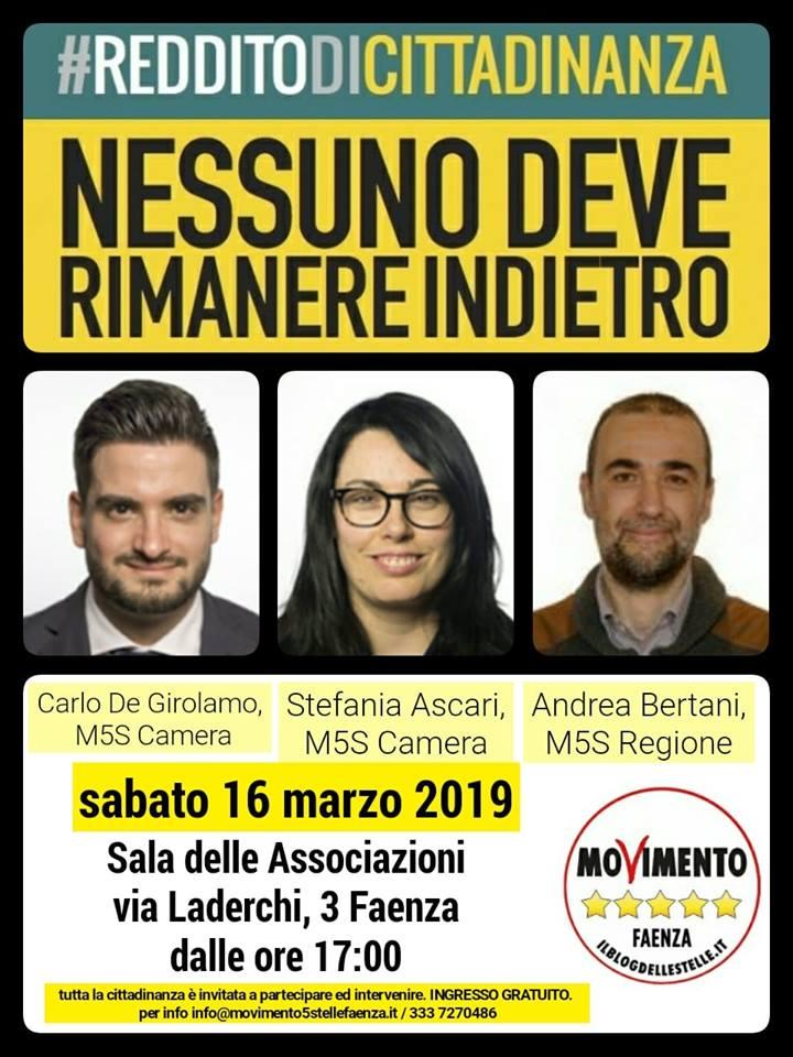 volantino reddito di cittadinanza 16 marzo faenza